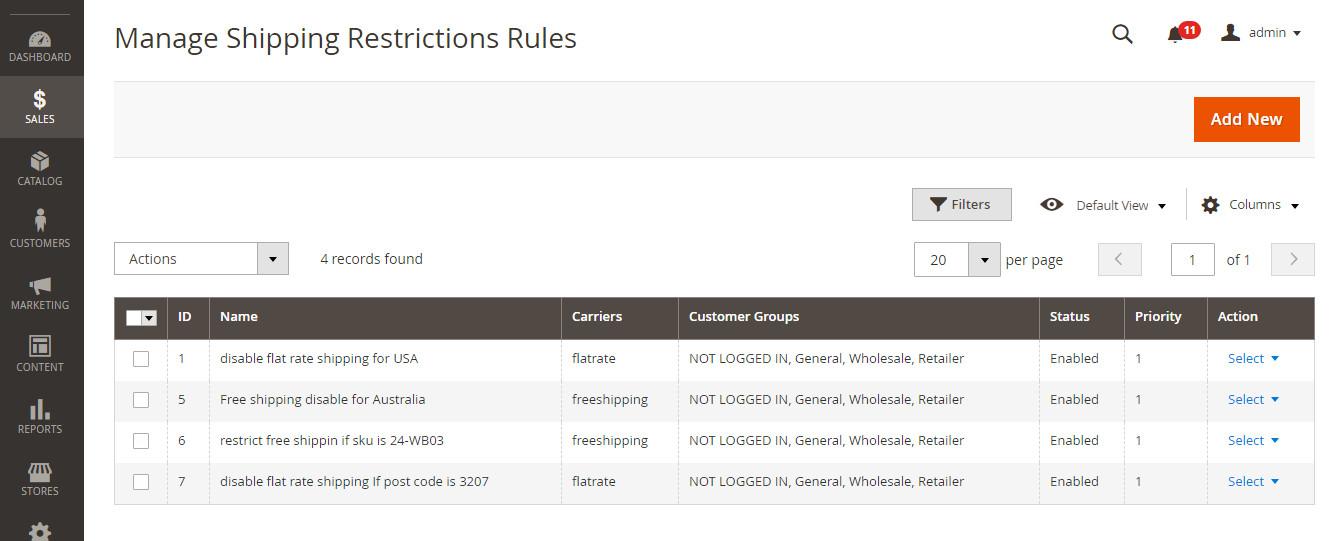 shippign Restriction Rule